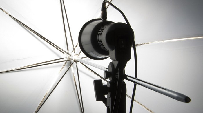 Photography set up with umbrella